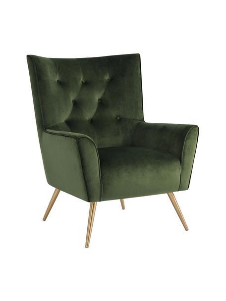 FluwelenFauteuil Bodiva in groen, Bekleding: polyester (fluweel), Poten: gelakt metaal, Woudgroen, messingkleurig, B 82 x D 88 cm