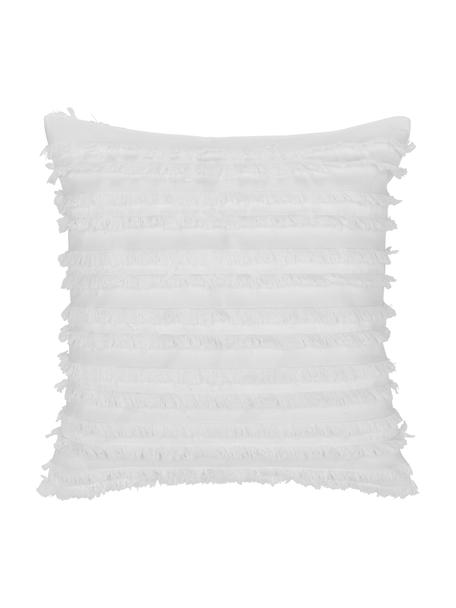 Funda de cojín con flecos Jessie, 88%algodón, 7%viscosa, 5%lino, Blanco, An 45 x L 45 cm
