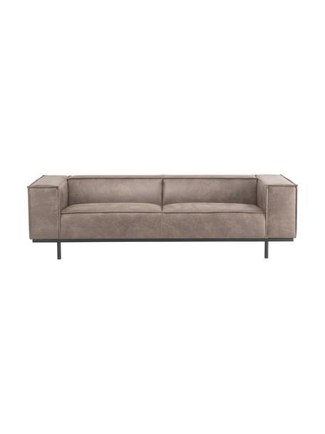 Leder-Sofa Abigail (3-Sitzer) in Braungrau mit Metall-Füßen, Bezug: Lederfaserstoff (70% Lede, Beine: Metall, lackiert, Leder Braungrau, B 230 x T 95 cm