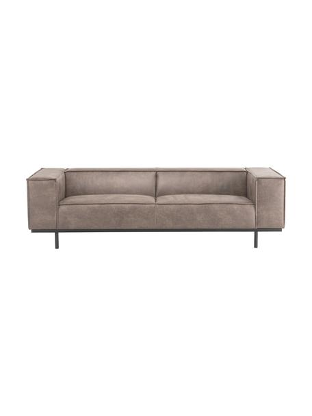Sofa ze skóry z metalowymi nogami Abigail (3-osobowa), Tapicerka: skóra naturalna (70% skór, Nogi: metal lakierowany, Koniakowy, S 230 x G 95 cm