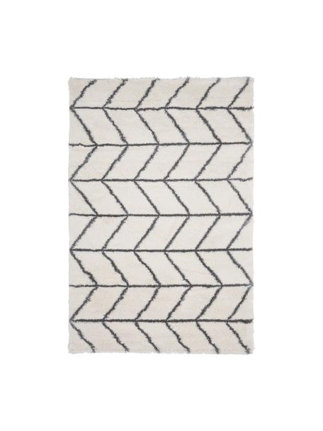 Hochflor-Teppich Cera in Creme/Dunkelgrau, Flor: 100% Polypropylen, Cremeweiß, Dunkelgrau, B 120 x L 180 cm (Größe S)