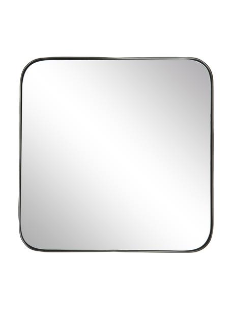 Eckiger Wandspiegel Ivy mit schwarzem Metallrahmen, Rahmen: Metall, pulverbeschichtet, Rückseite: Mitteldichte Holzfaserpla, Spiegelfläche: Spiegelglas, Schwarz, 55 x 55 cm
