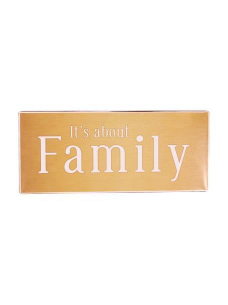 Wandschild It's about Family, Metall, beschichtet, Orange, Weiß, 31 x 13 cm