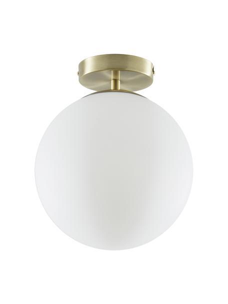 Plafón pequeño de vidrio Hitch, Pantalla: vidrio, Latón, blanco, Ø 25 x Al 30 cm