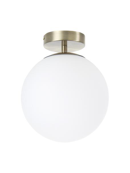 Lampada da soffitto in vetro Hitch, Baldacchino: metallo ottonato, Paralume: vetro, Baldacchino e rilegatura: ottone opaco Paralume: bianco, Ø 25 x Alt. 30 cm