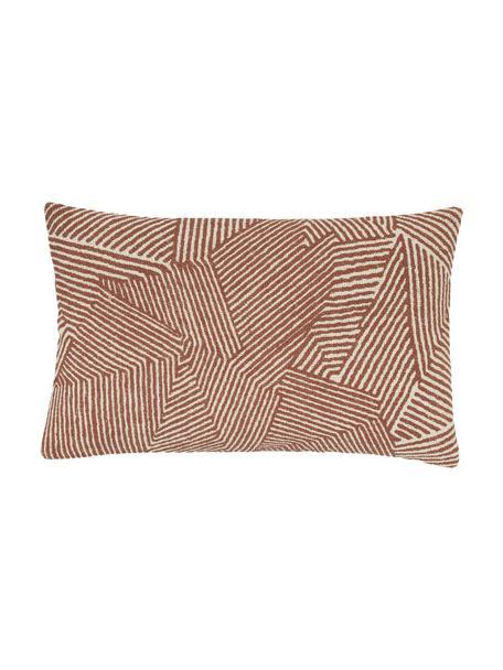 Kissenhülle Nadia mit grafischem Muster in Rostfarben, 100%  Baumwolle, Beige,Weiß,Rot, 30 x 50 cm
