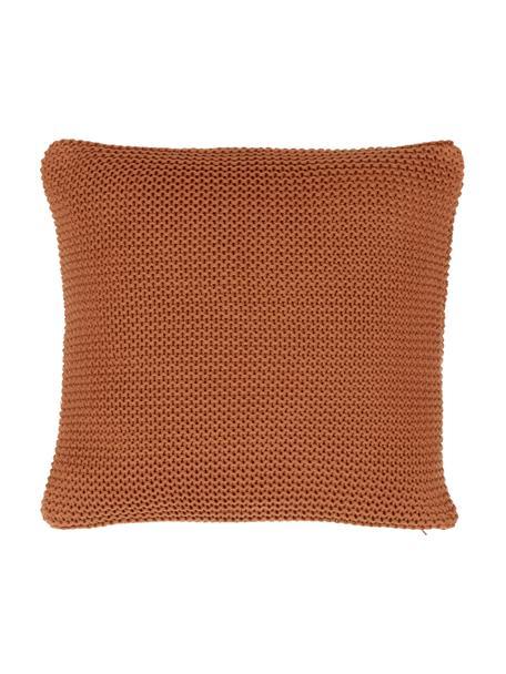 Federa arredo a maglia in cotone biologico rosso ruggine Adalyn, 100% cotone biologico, certificato GOTS, Rosso, Larg. 40 x Lung. 40 cm