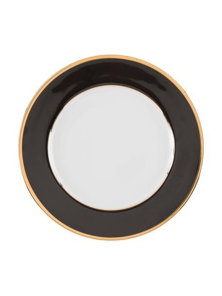 Piatto piano in porcellana con bordo dorato Ginger 6 pz, Porcellana, Bianco,  nero,  dorato, Ø 27 cm