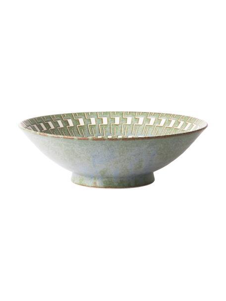 Handgemaakte saladeschaal Yunomi in Japanse stijl, Ø 25 cm, Porselein, Groen, wit, Ø 25 x H 8 cm