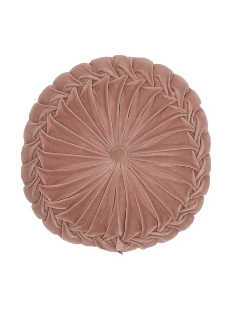 Rond fluwelen kussen Kanan met plooien, met vulling, Oudroze, Ø 40 cm