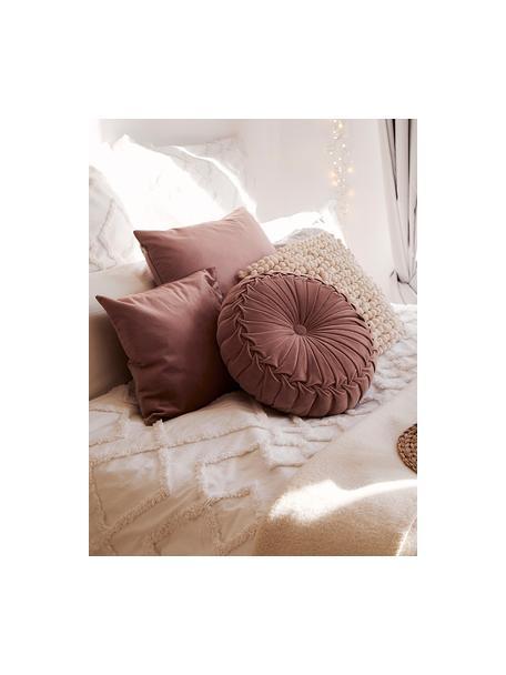 Cojín redondo de terciopelo Kanan, con relleno, Funda: terciopelo 100%algodón, Rosa palo, Ø 40 cm