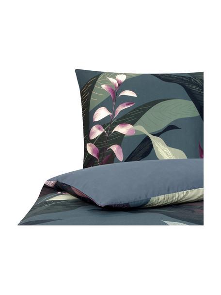 Parure copripiumino reversibile in raso di cotone Flora, Fronte: multicolore Retro: grigio scuro, 155 x 200 cm