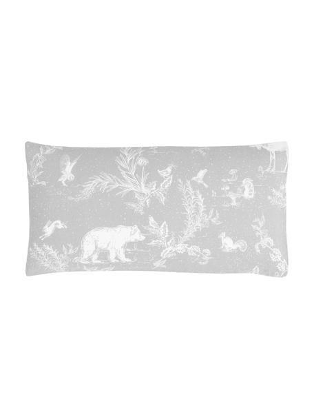Poszewka na poduszkę z flaneli Animal Toile, 2 szt., Szary, S 40 x D 80 cm
