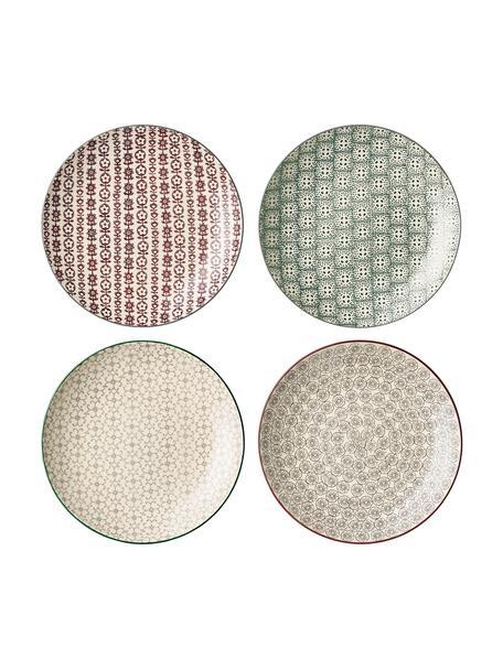Set 4 piatti piani con piccolo motivo Karine, Gres, Multicolore, Ø 25 cm