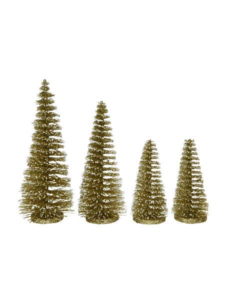 Decoratieve boompjes Minitree, 4 stuks, Kunststof, Goudkleurig, Ø 10 x H 16 cm