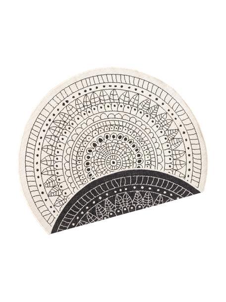 Okrągły dwustronny dywan wewnętrzny/zewnętrzny Porto, Czarny, odcienie kremowego, Ø 200 cm (Rozmiar L)