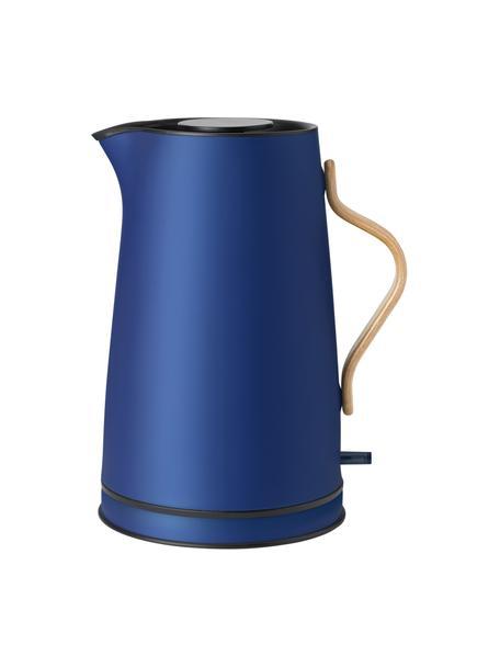Hervidor Emma, Estructura: acero inoxidable, Asa: madera de haya, Azul, beige, 1,2 L