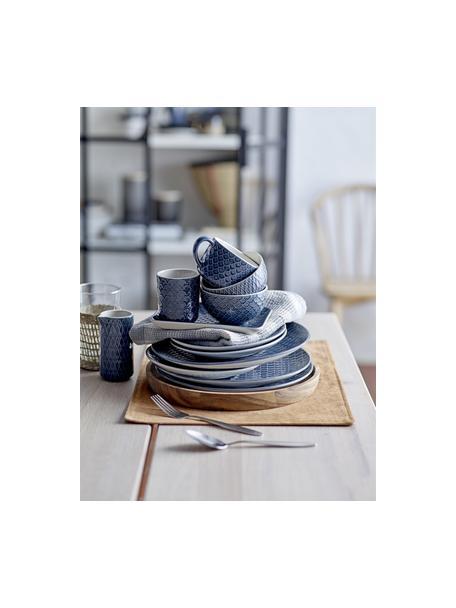 Kommen met patroon Naomi in donkerblauw, 4 stuks, Keramiek, Blauw, wit, Ø 12 x H 7 cm
