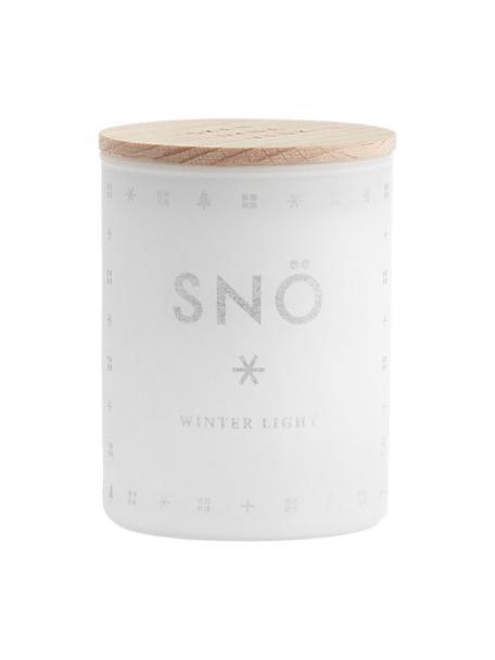 Geurkaars Snö (winterbessen & hout), Houder: glas, Deksel: beukenhout, Wit. Deksel: beukenhout, Ø 4 x H 6 cm