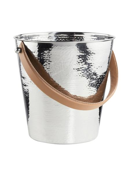 Flaschenkühler Lord aus Edelstahl mit gehämmerter Oberfläche, Griff: Kunstleder, Edelstahl, Ø 24 x H 24 cm