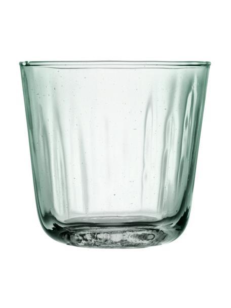Vasos con relive de vidrio reciclado Mia, 4uds., Vidrio reciclado, Turquesa, transparente, Ø 9 x Al 8 cm