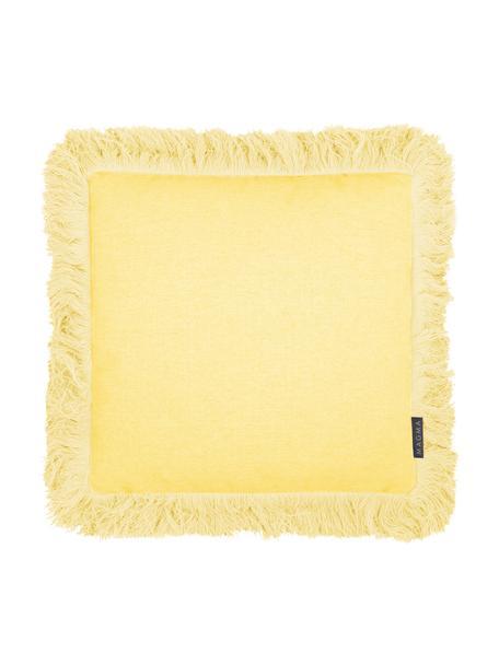 Kussenhoes Tine in geel met franjes, Weeftechniek: jacquard, Geel, 40 x 40 cm