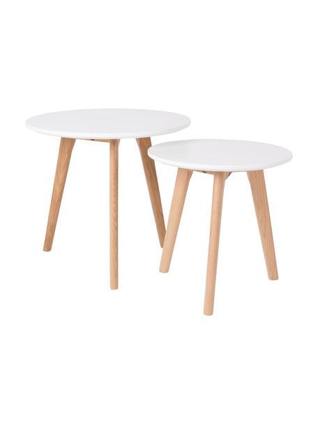 Set de mesas auxiliares Bodine, 2pzas., estilo escandinavo, Tablero: fibras de densidad media, Patas: madera de roble maciza na, Blanco, Set de diferentes tamaños