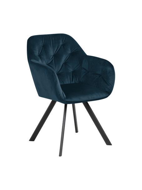 Krzesło obrotowe z aksamitu Lucie, Tapicerka: aksamit poliestrowy Dzięk, Nogi: metal malowany proszkowo, Aksamitny ciemny niebieski, S 58 x G 62 cm