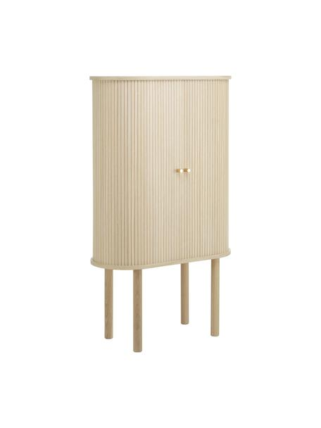 Chiffonnier de madera Calary, Estructura: fibras de densidad media , Patas: madera de roble maciza, Madera clara, An 75 x Al 130 cm