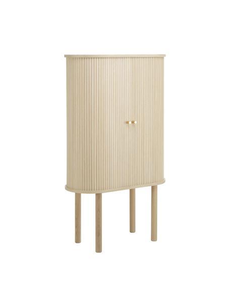 Houten dressoir Calary mit geriffelter Front, Frame: MDF en multiplex met eike, Poten: massief eikenhout, Licht hout, 75 x 130 cm