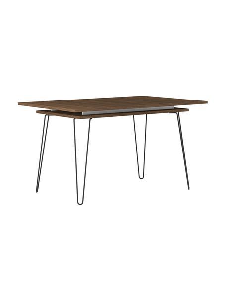 Stół rozkładany do jadalni z forniru z drewna orzechowego Aero, Nogi: metal lakierowany, Fornir z drewna orzechowego, S 134 - 174 x G 90 cm