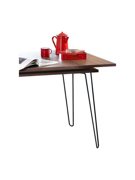 Tavolo allungabile con impiallacciatura di noce Aero, Gambe: metallo verniciato, Legno di noce, Larg. 134 a 174 x Prof. 90 cm