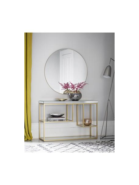 Sidetable Pippard met glazen plateaus, Frame: gelakt metaal, Tafelblad: spiegelglas, Champagnekleurig, transparant, B 120 x D 36 cm