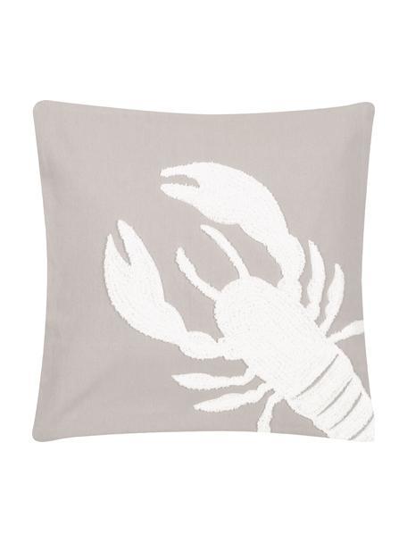 Kissenhülle Lobster mit getuftetem Motiv, 100% Baumwolle, Taupe, Weiß, 40 x 40 cm