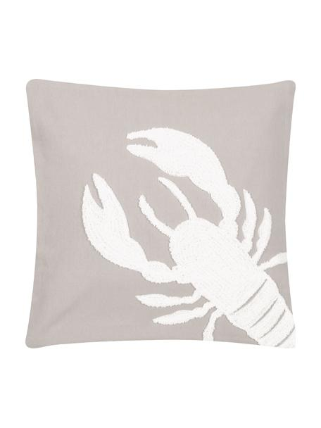 Poszewka na poduszkę Lobster, 100% bawełna, Taupe, biały, S 40 x D 40 cm