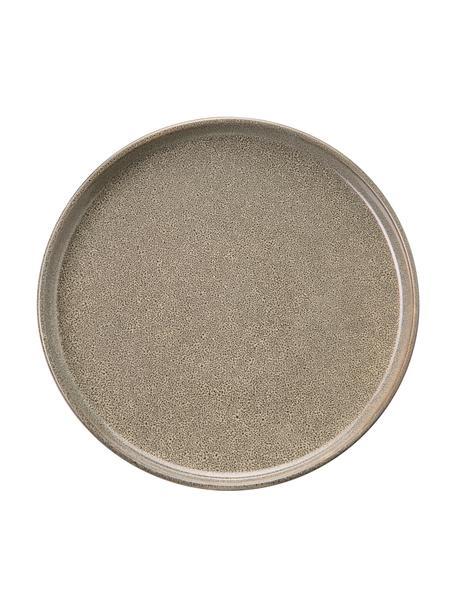 Platos llano de gres Ceylon, 2uds., Gres, Pardo, tonos verdes, Ø 27 cm
