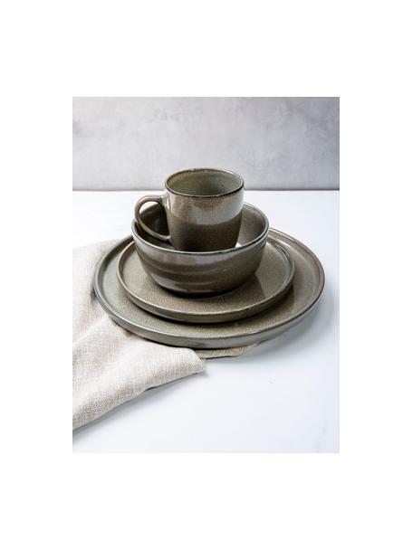 Steingut Speiseteller Ceylon in Grau/Grün gesprenkelt, 2 Stück, Steingut, Bräunlich, Grüntöne, Ø 27 cm