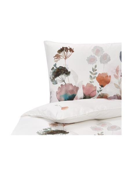 Mako-Satin-Bettwäsche Lena mit Aquarell Blumenprint, Webart: Makosatin Mako-Satin wird, Weiß, Mehrfarbig, 155 x 220 cm