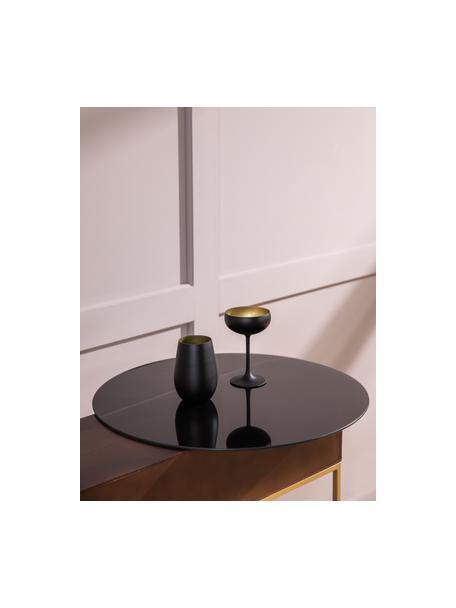 Copas pompadour de champán de cristal Elements, 6uds., Cristal recubierto, Negro, latón, Ø 10 x Al 15 cm