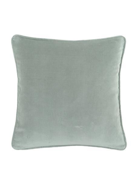 Einfarbige Samt-Kissenhülle Dana in Salbeigrün, 100% Baumwollsamt, Salbeigrün, 50 x 50 cm