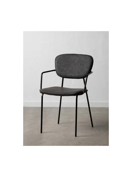 Krzesło tapicerowane ze sztucznej skóry Iskia, Tapicerka: sztuczna skóra (95% polie, Stelaż: płyta wiórowa, Nogi: metal, Ciemnyszary, czarny, S 54 x G 55 cm