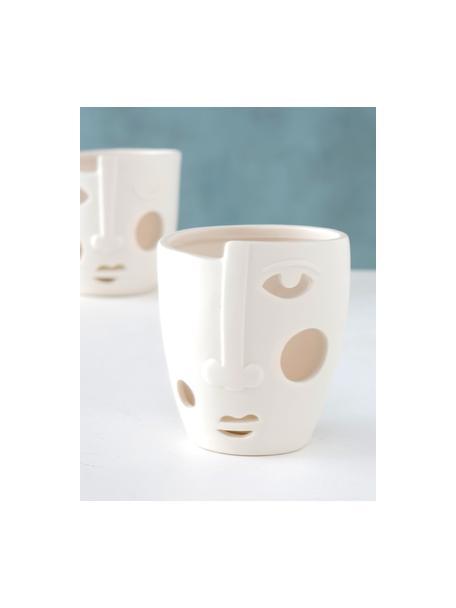 Waxinelichthoudersset Faces, 2-delig, Porselein, Crèmewit, Ø 9 x H 9 cm