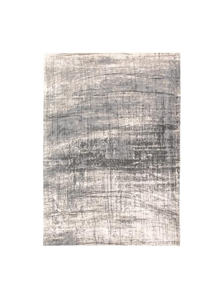 Design Teppich Griff im Vintage Style, Flor: 85%Baumwolle, 15%hochgl, Webart: Jacquard, Grautöne, Weiß, B 140 x L 200 cm (Größe S)