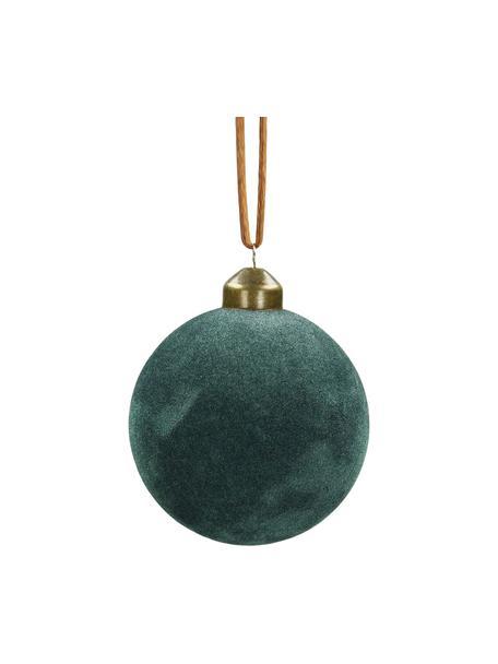 Samt-Weihnachtskugeln Velvet Ø8cm, 4Stück, Blaugrün, Ø 8 cm