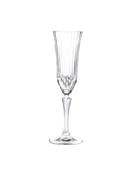 Flute champagne in cristallo con rilievo Adagio 6 pz, Cristallo, Trasparente, Ø 8 x Alt. 25 cm