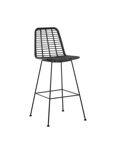 Polyrotan-barkruk Costa met metalen poten, Zitvlak: polyethyleen-vlechtwerk, Frame: gepoedercoat metaal, Zwart, 56 x 110 cm