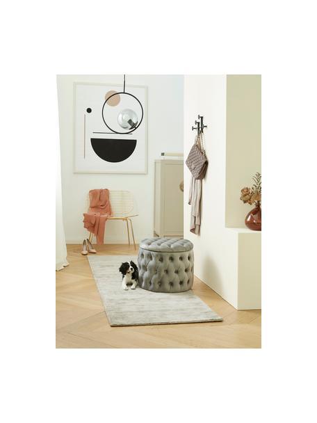 Taburete de terciopelo Chiara, con espacio de almacenamiento, Tapizado: terciopelo (poliéster) Al, Estructura: madera de eucalipto, Tapizado: relleno de espuma, Gris, Ø 50 x Al 40 cm