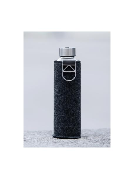 Botella Mismatch, Botella: vidrio borosilicato, Funda: fieltro de poliéster, Negro, transparente, plateado, Ø 8 x Al 26 cm