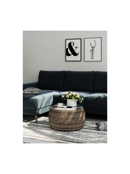Sofa narożna z aksamitu Fynn, Tapicerka: 100% aksamit poliestrowy, Stelaż: drewno liściaste, drewno , Nogi: drewno lakierowane Dzięki, Ciemny niebieski, S 234 x G 145 cm