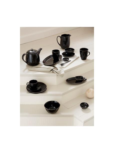 Cuencos artesanales de gres Nordic Coal, 4uds., Gres, Marrón negruzco, Ø 11 x Al 6 cm